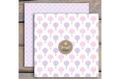 Pastel Pink Hot Air Balloons Digital papers and Clipart Product Image 4