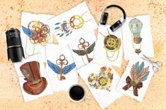 Steampunk watercolor clipart set Product Image 4
