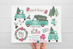 Vintage Blue Christmas Truck Clipart - Vector Clip Art & SVG Product Image 2
