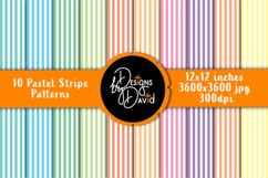 10 Pastel Stripe Patterns - Scrapbook Paper - 12x12 inches Product Image 1