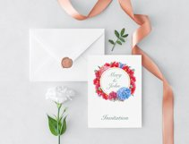 Watercolor Peonies and Hydrangea Frames Product Image 3