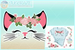 Cat Face With Roses Svg Dxf Eps Png Pdf Files Product Image 1