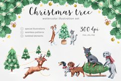 Watercolor christmas illustrations. Dogs Christmas. Product Image 1