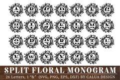 Split Floral Monogram Cut File Bundle Product Image 2