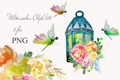 lantern with floral clipart Watercolor for design invite Product Image 1