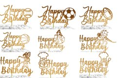 24 Birthday Cake Topper SVG Bundle | cake topper template Product Image 4