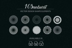 10 sunburst vector shape elements Product Image 1