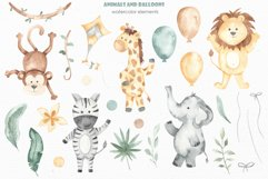 Animals and balloons watercolor Product Image 2