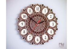 C06 - Mandala Flower Clock, Layered Clock DXF, Clock SVG Product Image 4