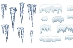 Icicles and Snow cap vector set Product Image 2