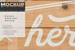 Wood sign mockup with 1 to 6 planks Product Image 5