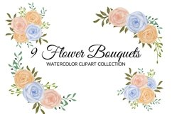 Colorful Rose Flower Watercolor Clipart Collection Product Image 3