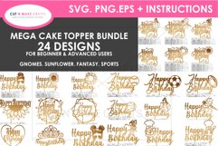 24 Birthday Cake Topper SVG Bundle | cake topper template Product Image 1