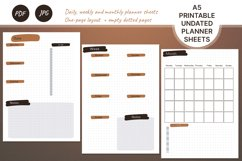 Undated monthly weekly daily planner sheets. Printable A5 Product Image 1