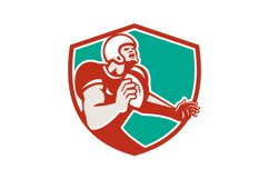 American Football Player Angry Shield Retro Product Image 1