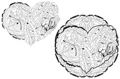 Hearts zentangle for coloring pages Product Image 4