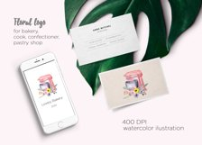 Watercolor logo bakery, mixer floral cooking clipart,kitchen Product Image 2