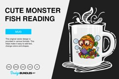 Cute Monster Fish Reading Vector Illustration Product Image 4
