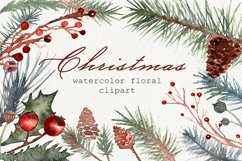 Watercolor Christmas greenery clipart, Winter collection Product Image 1