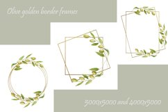 Watercolor green olives wreath and golden frames, wedding in Product Image 4