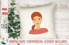 Girl portrait PNG, JPEG file. Woman face clipart. Female PNG Product Image 5