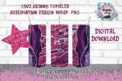 15oz  Sublimation  Pink Glitter Vein  Skinny tumbler Design Product Image 1
