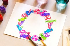 Candy wreath Colorful Watercolor Sweets clipart Product Image 3