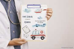 Watercolor Ambulance. Clipart, cards, seamless patterns Product Image 5