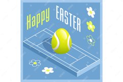 Easter sports greeting card. Tennis. Product Image 1