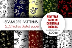 New Year doodle clipart. Christmas seamless designs Product Image 1