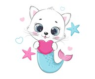 Cute little Mermaid clipart, PNG, EPS, JPG, 300 DPI Product Image 2