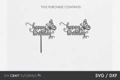 Cake Topper SVG, Happy Birthday SVG, Butterfly SVG Product Image 2