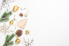 Christmas background at white with wooden toys Product Image 1