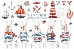 Cute Rabbit sailor. Kids watercolor sea clipart. Baby Bunny Product Image 1