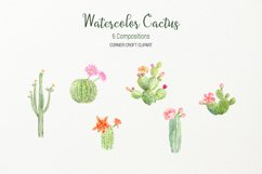 Watercolor clipart cactus for instant download  Product Image 3