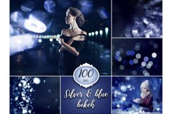100 Silver & Blue Bokeh Overlays Product Image 1