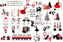 Retro Mid Century Black and Red Christmas AI EPS PNG Product Image 1