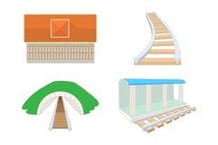 Railroad icon set, cartoon style Product Image 1
