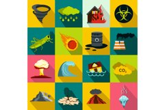 Natural disaster icons set, flat style Product Image 1
