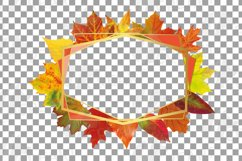 Fall leaves golden geometric frame templates. Autumn wedding Product Image 6