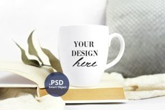 Neutral background Bistro mug mockup PSD, full wrap mockup Product Image 2