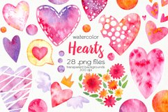 Watercolor Hearts Clipart - PNG Files Product Image 1