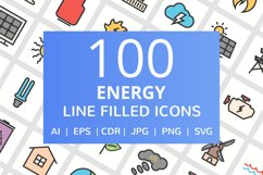 100 Energy Filled Line Icons Product Image 1