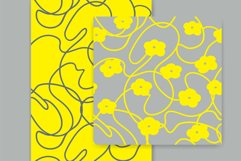 White and Yellow Simple Floral Vector Seamless Patterns Product Image 3