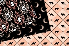 Peach and Black Halloween Digital Paper Product Image 2