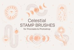 Watercolor Celestial Stamp Brushes for Procreate & Photoshop Product Image 1