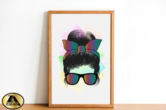 Mom Life PNG Sublimation Messy Bun with Glasses Mothers Day Product Image 2