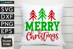 Merry Christmas Stick Trees SVG DXF PNG EPS Product Image 1