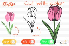 Tulip Flower - Cut File with 2 Layers Product Image 1