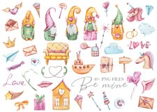 Watercolor Valentine gnomes clipart set. Cute love clipart Product Image 2